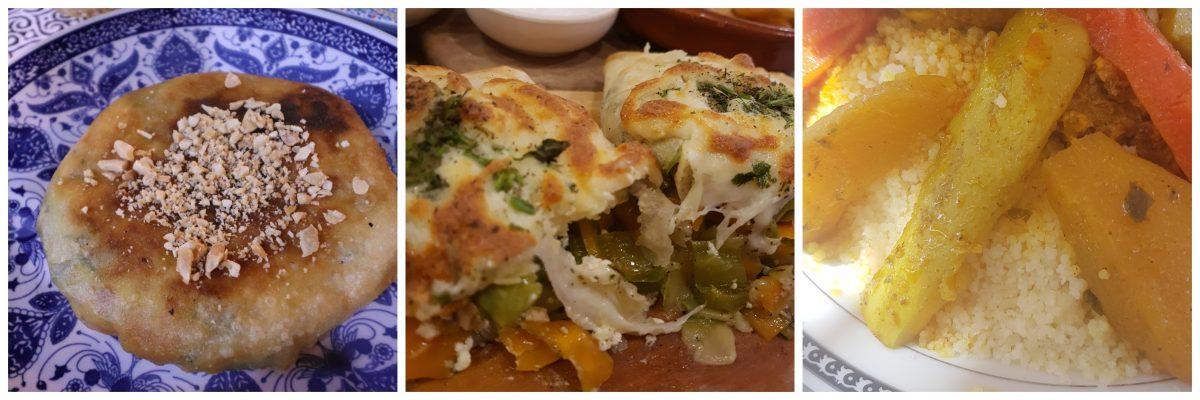 Ps 3 pratos principais: Pastille (folhado por vezes com açucar e canela no topo),  Couscous e Tajine de legumes